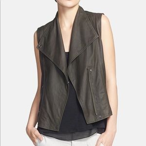 Vince | Olive Paper Leather Moto Vest